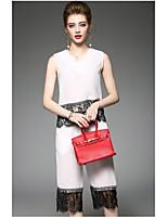Chemisier Pantalon Costumes Femme,Couleur Pleine Quotidien Moderne Eté Sans Manches Col Arrondi