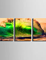 E-HOME Stretched Canvas Art  Green Waves Decoration Painting Set Of 3