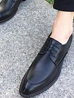 Для мужчин Туфли на шнуровке Удобная обувь Кожа Тюль Весна Повседневные Удобная обувь Черный Темно-коричневый Вино 2,5 - 4,5 см