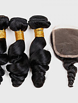 4Pcs/lot 300g Brazilian Virgin Hair Loose Wave Hair Weft With 1Pcs 40g  Lace Closure Free Part Raw Human Hair Weaves