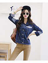 Women's Casual/Daily Simple Spring Fall Denim Jacket,Solid Round Neck Long Sleeve Regular Cotton