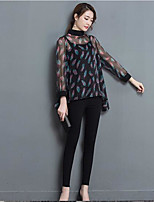Women's Casual/Daily Plus Size Simple Blouse,Jacquard Crew Neck Long Sleeve Polyester