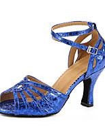 Maßfertigung Damen Latin Kunstleder Sandalen Sneakers Professionell Verschlussschnalle Blockabsatz Blau 5 - 6,8 cm