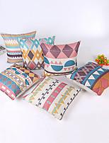 1 pcs Linen Pillow Case,Striped Geometric Traditional/Classic