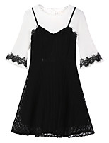 Women's Plus Size Simple Cute Lace Dress,Geometric Color Block Round Neck Above Knee ½ Length Sleeve Bamboo Fiber Spring Fall Mid Rise