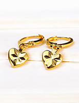 Fashion Gold Heart Love Drop Earrings Vintage Carved Jewelry For Party Engagement Gift