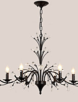 LightMyself 6 Lights Crystal Chandelier Modern/Contemporary Traditional/Classic Tiffany Vintage Retro Country Painting Feature for Living Room
