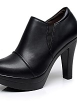 Women's Heels Formal Shoes Leatherette Spring Fall Office & Career Chunky Heel Brown Black 5in & over
