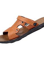 Men's Slippers & Flip-Flops Comfort PU Summer Outdoor Comfort Flat Heel Dark Brown Light Brown Blue Flat