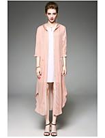 Для женщин Повседневные Весна Пальто Капюшон,Современный Однотонный ДлиннаяПолиэстер