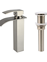 Centerset Waterfall with  Ceramic Valve One Hole for  Nickel Brushed , Bathroom Sink Faucet