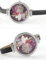 Женские Модные часы Кварцевый Кожа Группа Черный