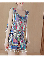Women's Casual/Daily Vintage Street chic Spring Summer Shirt Dress Suits,Floral Print Rainbow U Neck Sleeveless