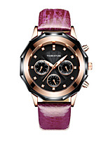 Women's Fashion Watch Quartz Water Resistant / Water Proof Three Time Zones Leather Band Sparkle Charm Black Blue Red Purple