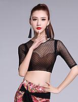 Latin Dance Tops Women's Performance Nylon MiniSpot 1 Piece Half Sleeve Natural Tops
