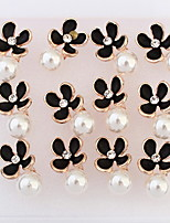 Korean Style Fashion Delicated  Pearl Rhinestone  Flowers  Lady Daily Stud Earrings Movie Jewelry