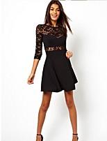 Damen Spitze Kleid-Ausgehen Sexy Solide Rundhalsausschnitt Mini ½ Länge Ärmel Seide Sommer Hohe Hüfthöhe Mikro-elastisch Mittel