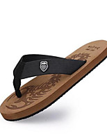 Men's Slippers & Flip-Flops Rubber Spring Black Brown Flat