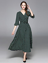 ALLA ONER Women's Going out Casual/Daily Party Sexy Swing Dress,Geometric V Neck Midi ½ Length Sleeve Silk Polyester Summer High Rise Inelastic Thin