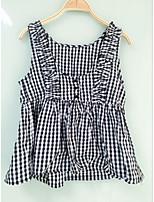 Women's Daily Cute Spring Summer Shirt,Plaid/Check Strap Sleeveless Cotton