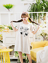 Women's Night Dress O Neck Short Sleeve Comfort Leopard Kitty Pattern Pajamas