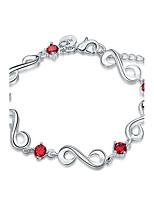 Exquisite Silver Plated Red Crystal 8 Style Chain & Link Bracelets Ruby Jewellery for Women Accessiories