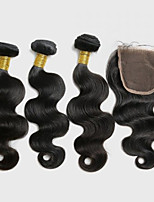 4Pcs/lot 300g Peruvian Virgin Hair Body Wave Hair Weft With 1Pcs 40g  Lace Closure Free Part Raw Human Hair Weaves
