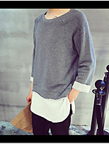 Sweatshirt Homme Grandes Tailles Décontracté / Quotidien Actif Couleur Pleine Col Arrondi Micro-élastique Coton Manches longues Printemps