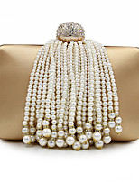 Women Evening Bag PU All Seasons Formal Casual Event/Party Wedding Minaudiere Imitation Pearl Tassel Snap Silver Black Gold Handbag Clutch More Colors