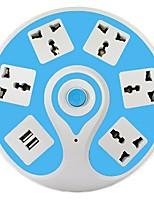 Eu plug 2 usb ports 5 sorties 10a 250v 2 m connexion femelle alimentation bande