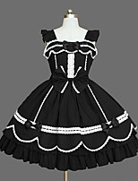 One-Piece/Dress Classic/Traditional Lolita Princess Elegant Cosplay Lolita Dress Fashion Solid Color Cap Long Sleeve Short / MiniTuxedo