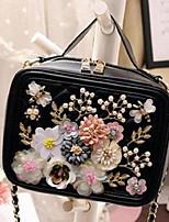Women Shoulder Bag PU All Seasons Casual Square Zipper Black
