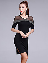 Latin Dance Dresses Women's Performance Modal Splicing 1 Piece Half Sleeve Natural Dresses / Shorts