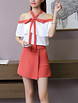 Women's Casual/Daily Party/Cocktail Club Sexy Street chic Sophisticated Spring Summer Blouse Skirt Suits,Striped Halter Short Sleeve