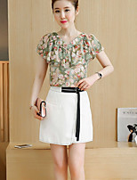 Women's Daily Others Summer Blouse Skirt Suits,Print Round Neck Short Sleeve