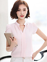Women's Going out Simple Blouse,Solid V Neck Short Sleeve Cotton