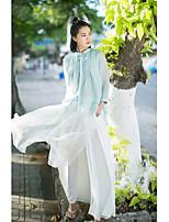 Для женщин Праздник Рубашка V-образный вырез,Шинуазери (китайский стиль) Однотонный Длинный рукав,Акрил