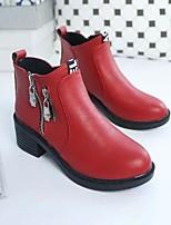 Women's Boots PU Spring Black Gray Ruby Flat