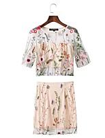 Camicia Gonna Completi abbigliamento Da donna Per uscire Casual Casual Estate Autunno,Fantasia floreale Ricamato Rotonda PizzoManica
