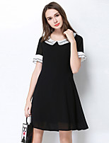 MEIDONGTAI Women's Going out Party A Line DressSolid Round Neck Knee-length  Length Sleeve Polyester Spring Summer High Rise Micro-elastic Thin