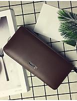 Men Wallet PVC All Seasons Casual Clutch Metallic Zipper Dark Brown Black