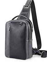 Men Sling Shoulder Bags Poly urethane All Seasons Casual Outdoor Messenger Zipper Black Grey Gray Black