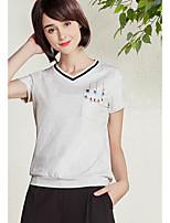 Damen Druck Einfach Alltag Normal T-shirt,V-Ausschnitt Kurzarm Baumwolle
