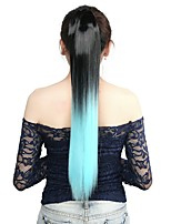 Neitsi 1Pcs 22'' 115g Striaght Wrap Around Ponytail Hair Extensions Synthetic Ombre T-Light Blue#