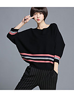 Women's Daily Regular Pullover,Solid Round Neck Long Sleeve Cotton Fall Medium Micro-elastic
