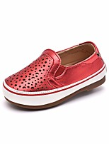Girls' Flats First Walkers Leatherette Spring Fall Casual Walking First Walkers Magic Tape Low Heel Ruby Silver Gold Flat