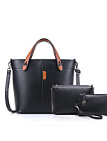 Women Bag Sets PU All Seasons Casual Office & Career Barrel Zipper Brown Gray Ruby Black