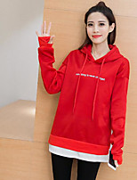 Women's Casual/Daily Hoodie Solid Hooded Micro-elastic Cotton Long Sleeve Spring Fall