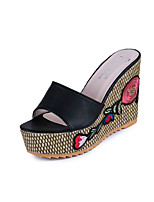 Women's Slippers & Flip-Flops Embroidery Vintage Fashion Boho Style Comfort Patent Leather Spring Summer Casual Dress Comfort Split Joint Wedge Heel