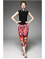 Chemisier Pantalon Costumes Femme,Couleur Pleine Broderie Quotidien Moderne Eté Sans Manches Col Arrondi